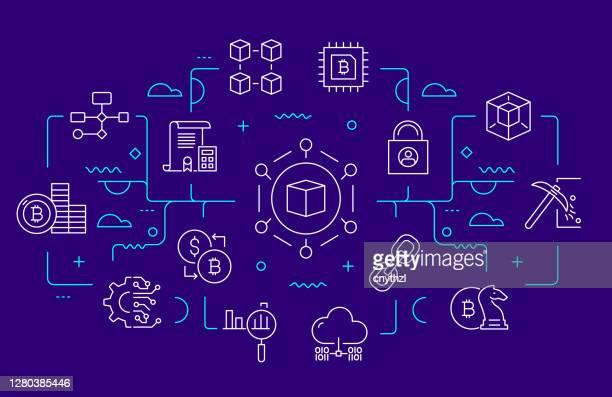 stockillustraties, clipart, cartoons en iconen met blockchain gerelateerde web banner lijn stijl. illustratie van de vector van modern ontwerp - blockchain