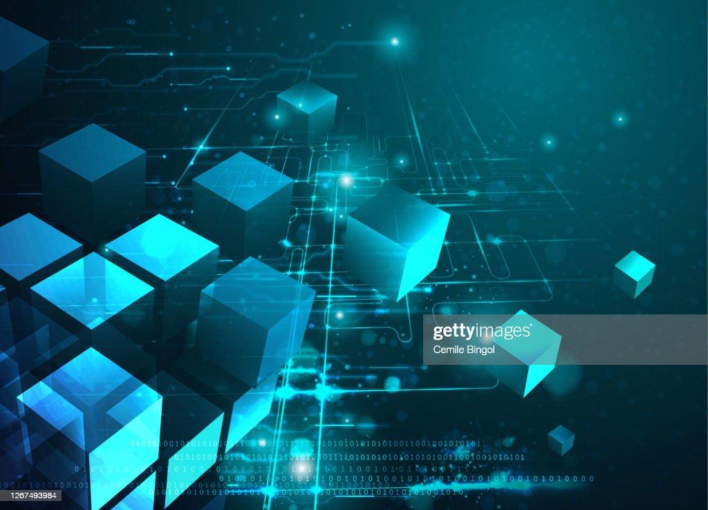 ブロックチェーン技術の抽象的背景 : ストックイラストレーション