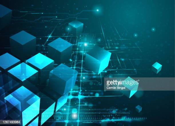 ブロックチェーン技術の抽象的背景 - 仮想通貨点のイラスト素材/クリップアート素材/マンガ素材/アイコン素材