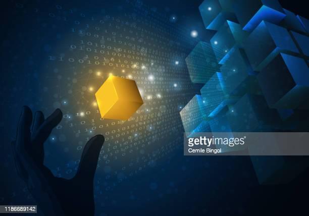 ブロックチェーン技術 - 仮想通貨マイニング点のイラスト素材/クリップアート素材/マンガ素材/アイコン素材