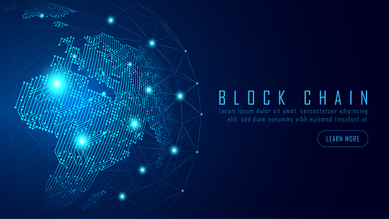Blockchain technology with a global connection concept