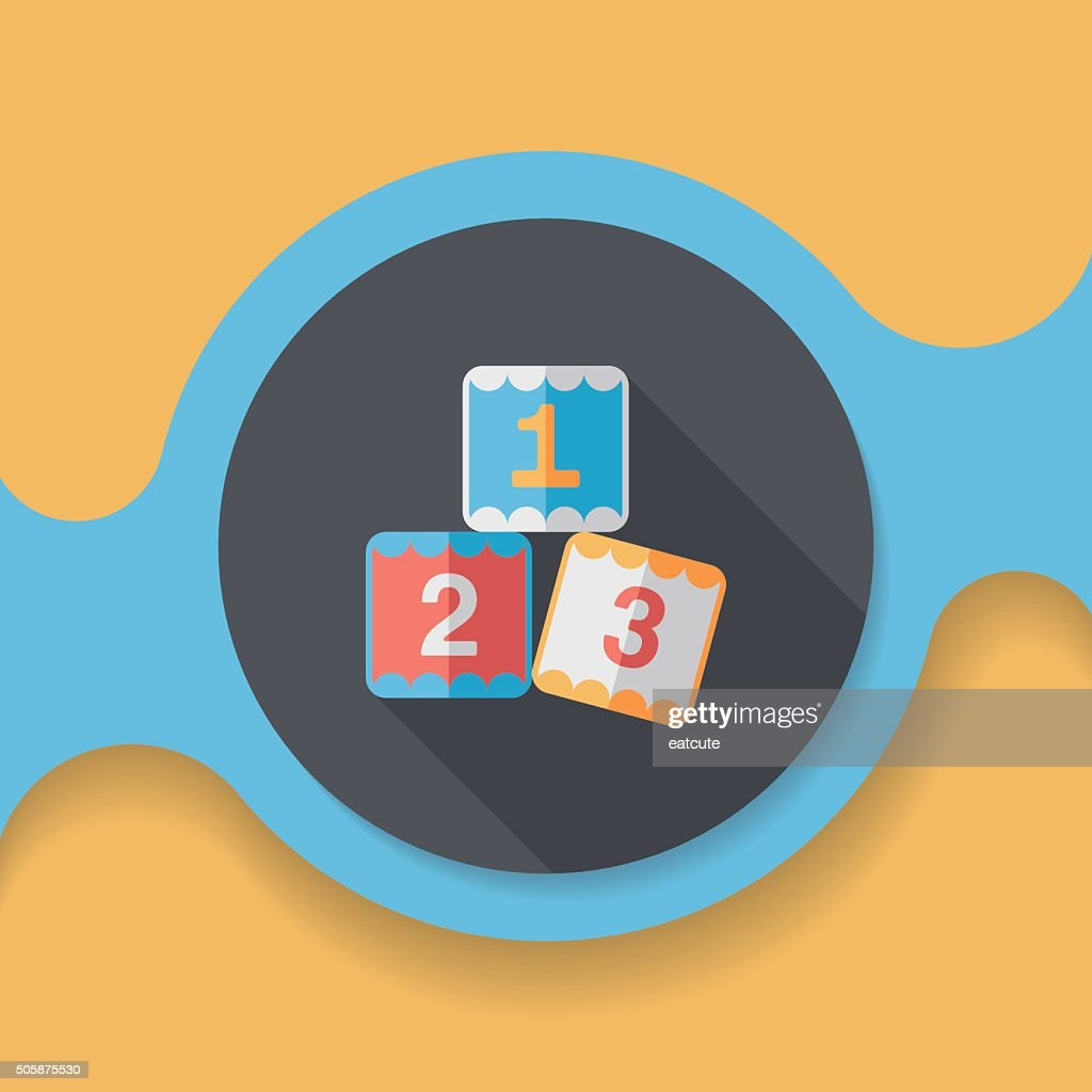 123 blocks flat icon with long shadow,eps10