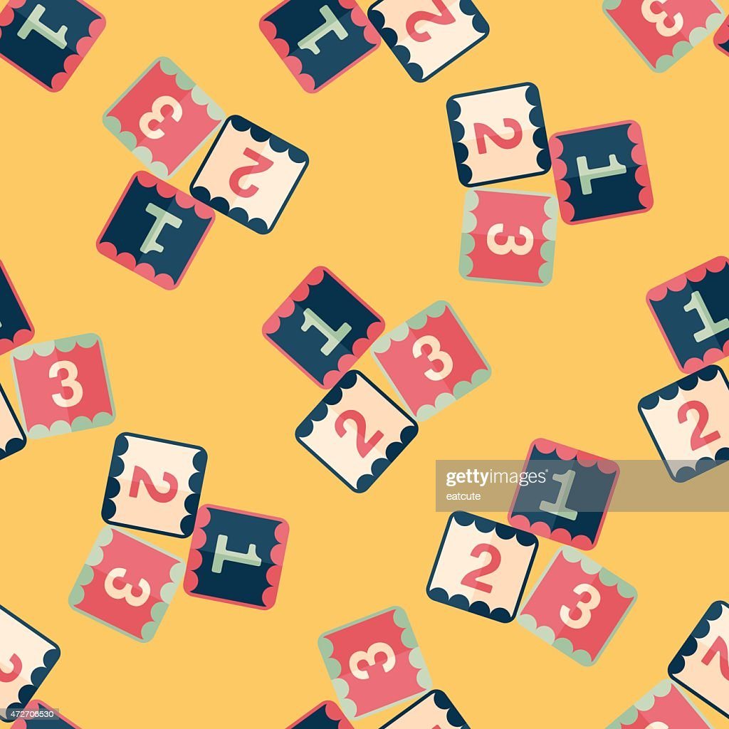 123 blocks flat icon,eps10 seamless pattern background