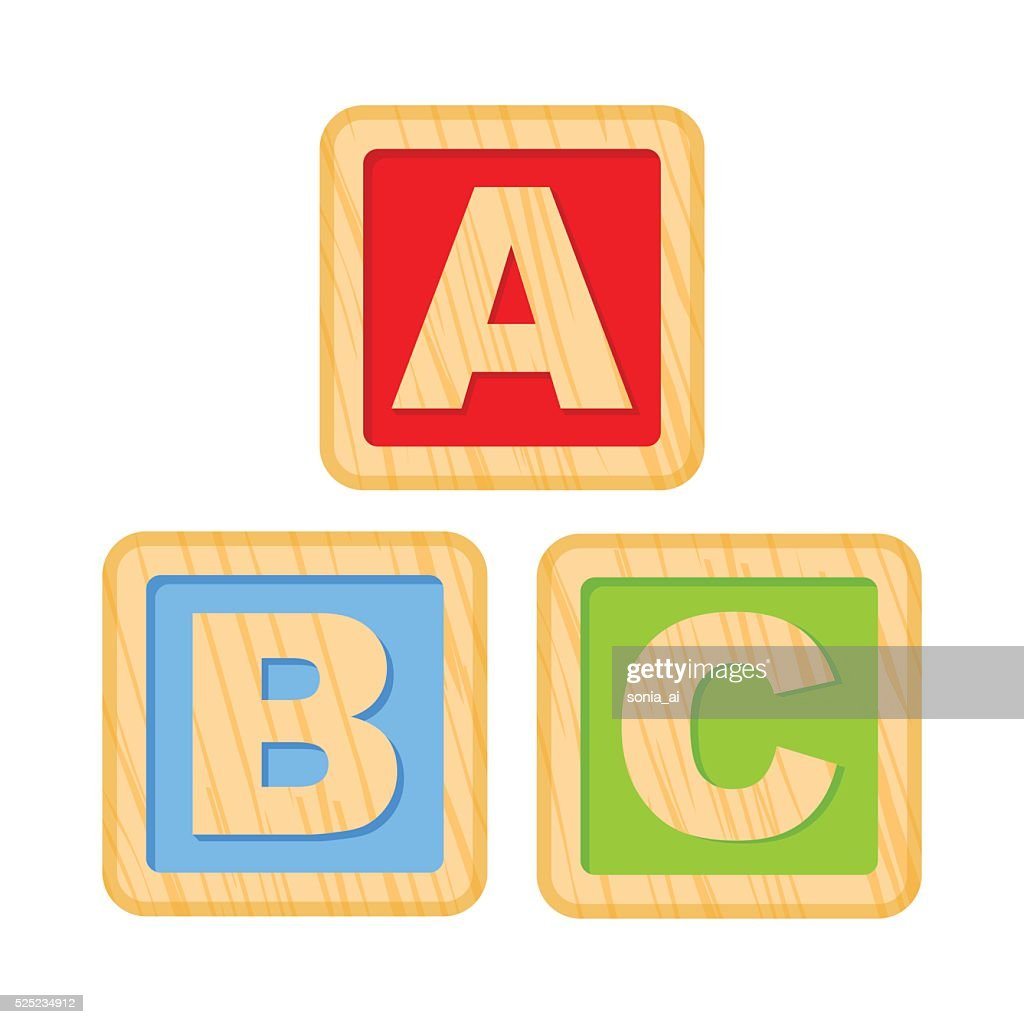 ABC blocks. Wooden alphabet cubes with A,B,C letters
