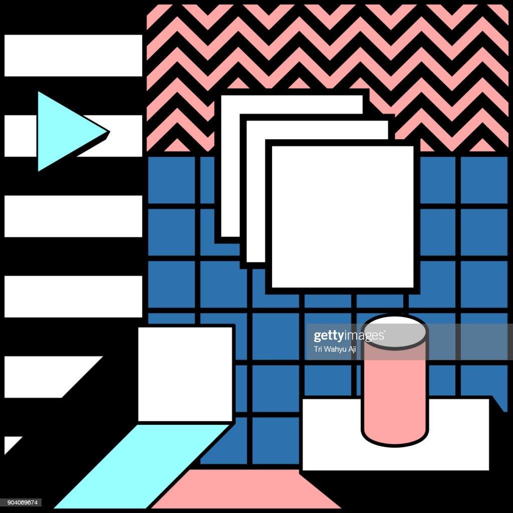 Blocky Colorful Geometric Stylish Background Vector Graphic Illustration