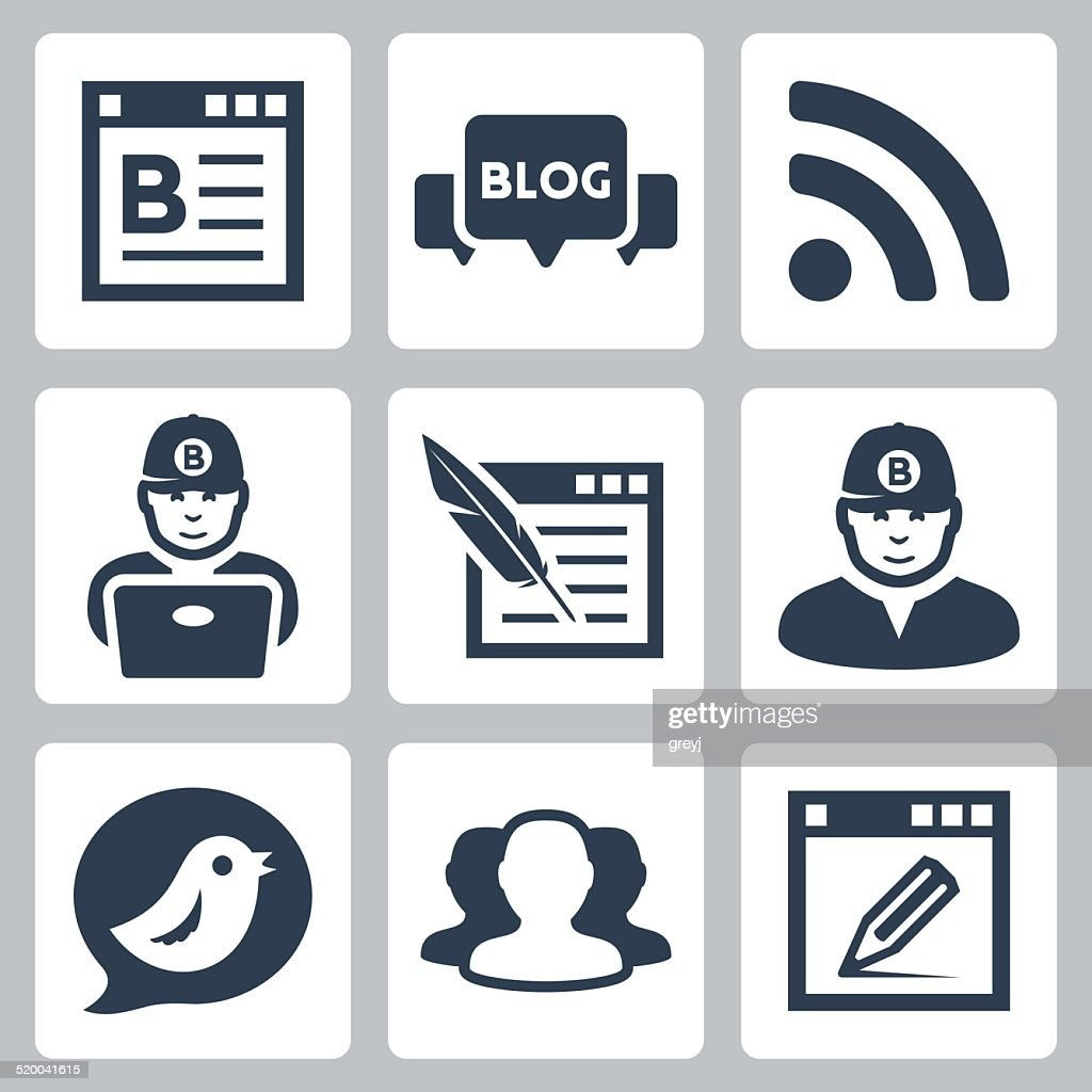 Blog and blogger vector icons set