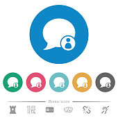 Blog comment sender flat round icons