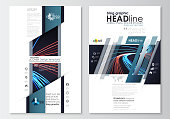 Blog graphic business templates. Page website template, easy editable, flat