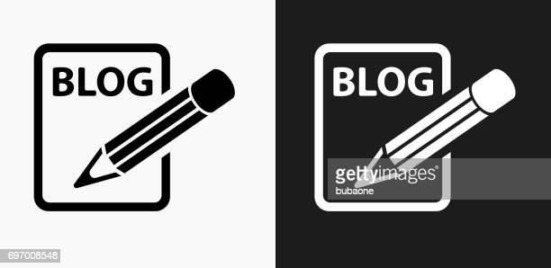 Blog Icon on Black and White Vector Backgrounds