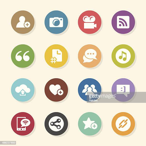 blog icons - color circle series - hashtag stock illustrations