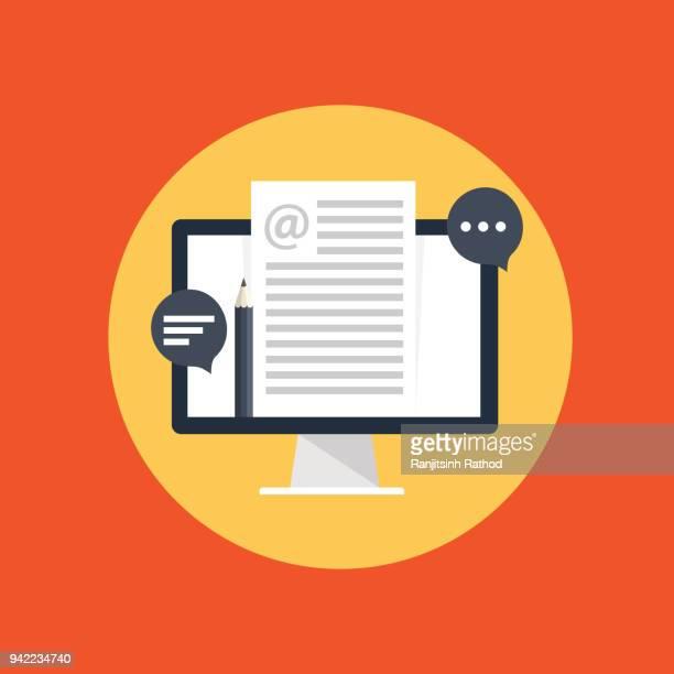 ilustraciones, imágenes clip art, dibujos animados e iconos de stock de blog gestión - escribir