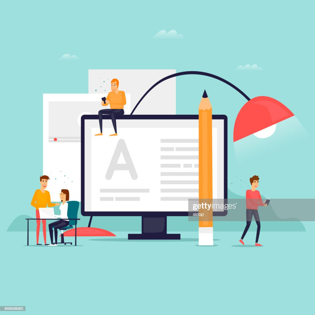 Blog people write the text. Flat design vector illustration.