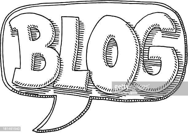 Blog Text Konzept Sprechblase Zeichnung