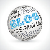 blog vector theme sphere with keywords