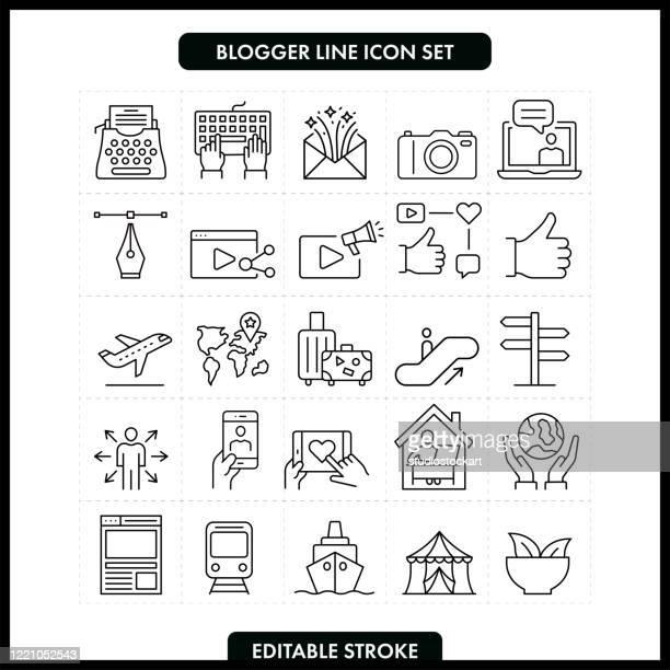 ブロガーラインアイコンセット。編集可能ストローク - 通知アイコン点のイラスト素材/クリップアート素材/マンガ素材/アイコン素材