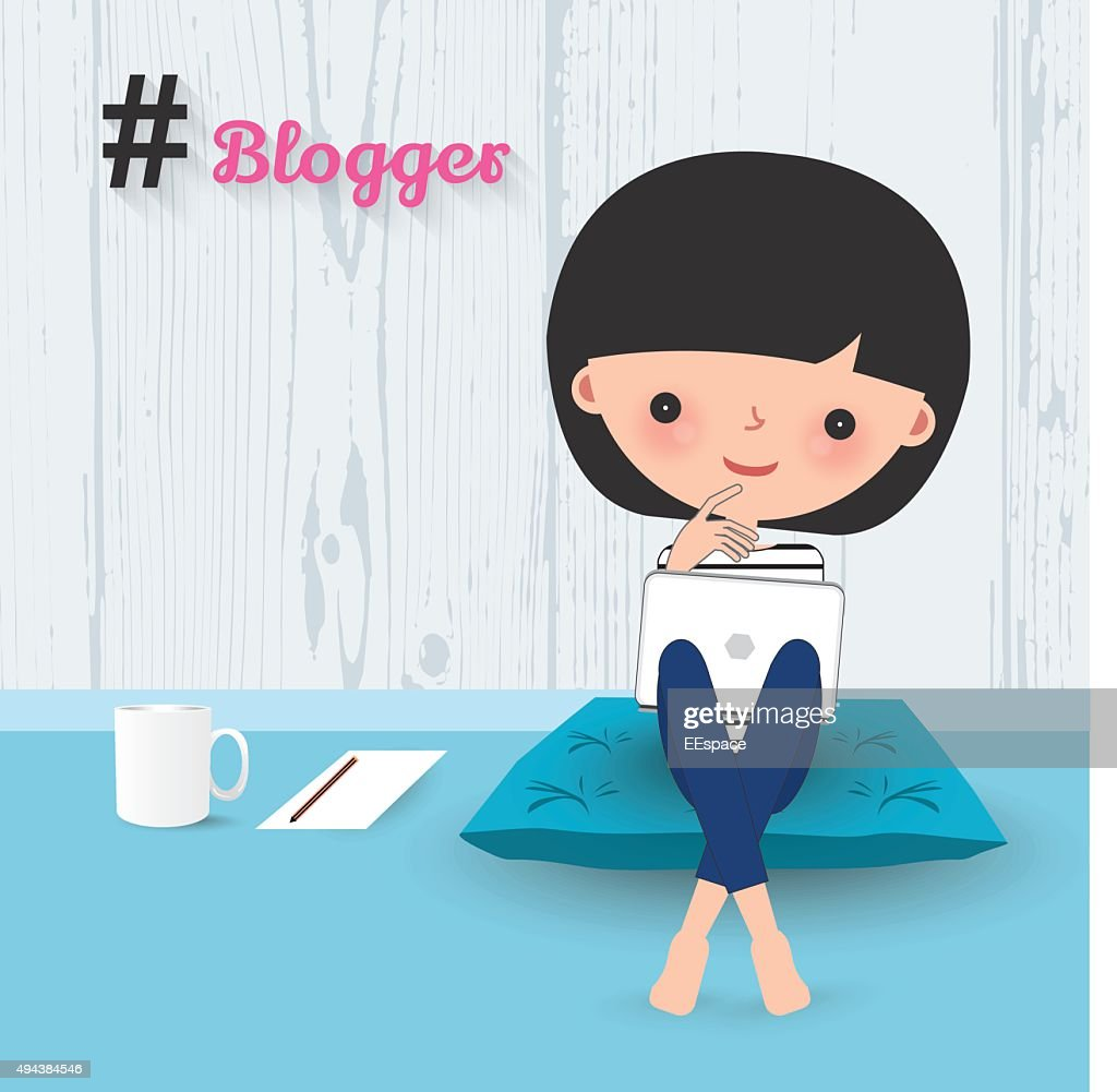 Blogger woman laptop cartoon