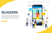 Bloggers vector website landing page design template