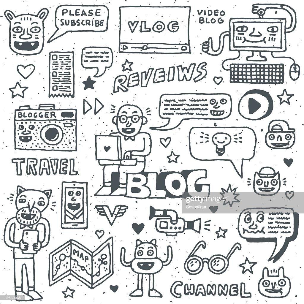 Blogging Activities Funny Doodle Cartoon Set. Video Blog.
