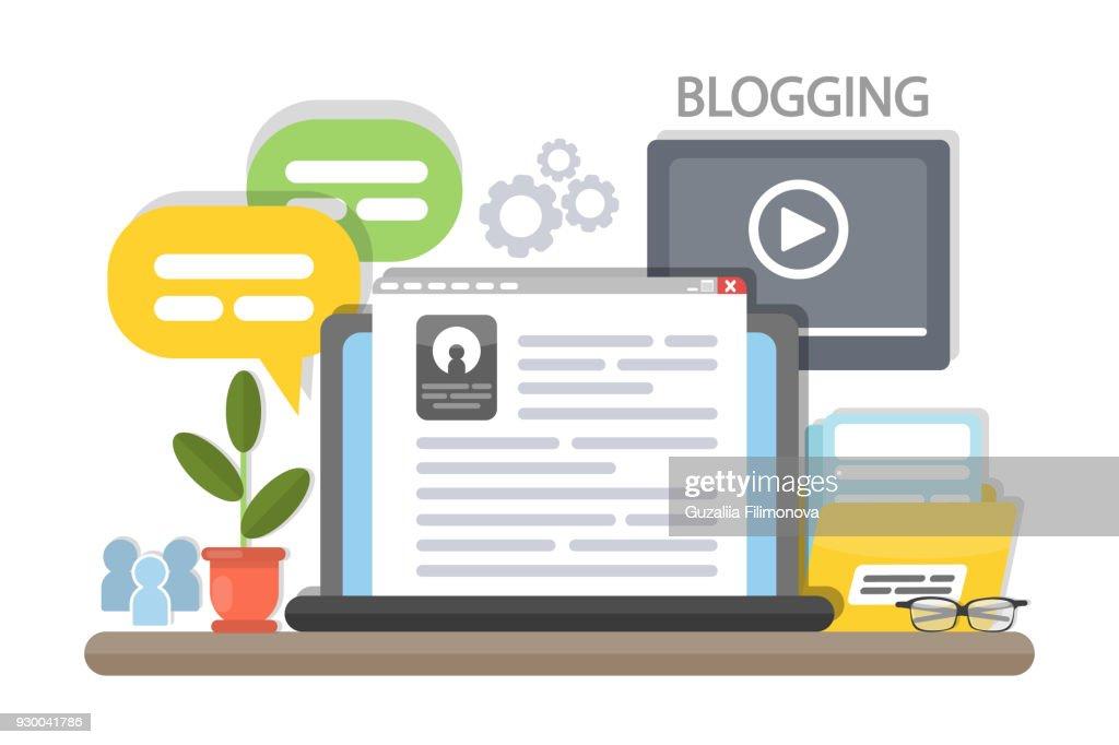 Blogging concept illustration.