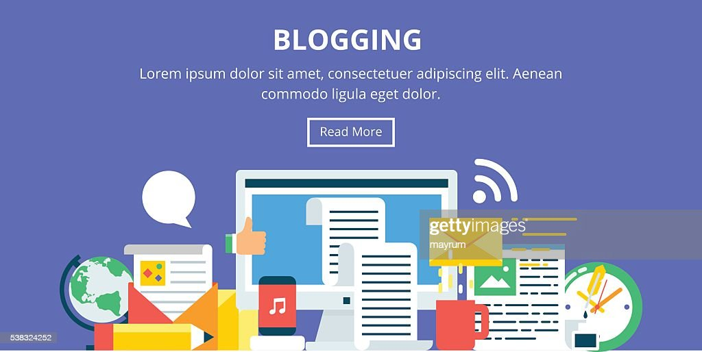 Blogging, content marketing flat style banner