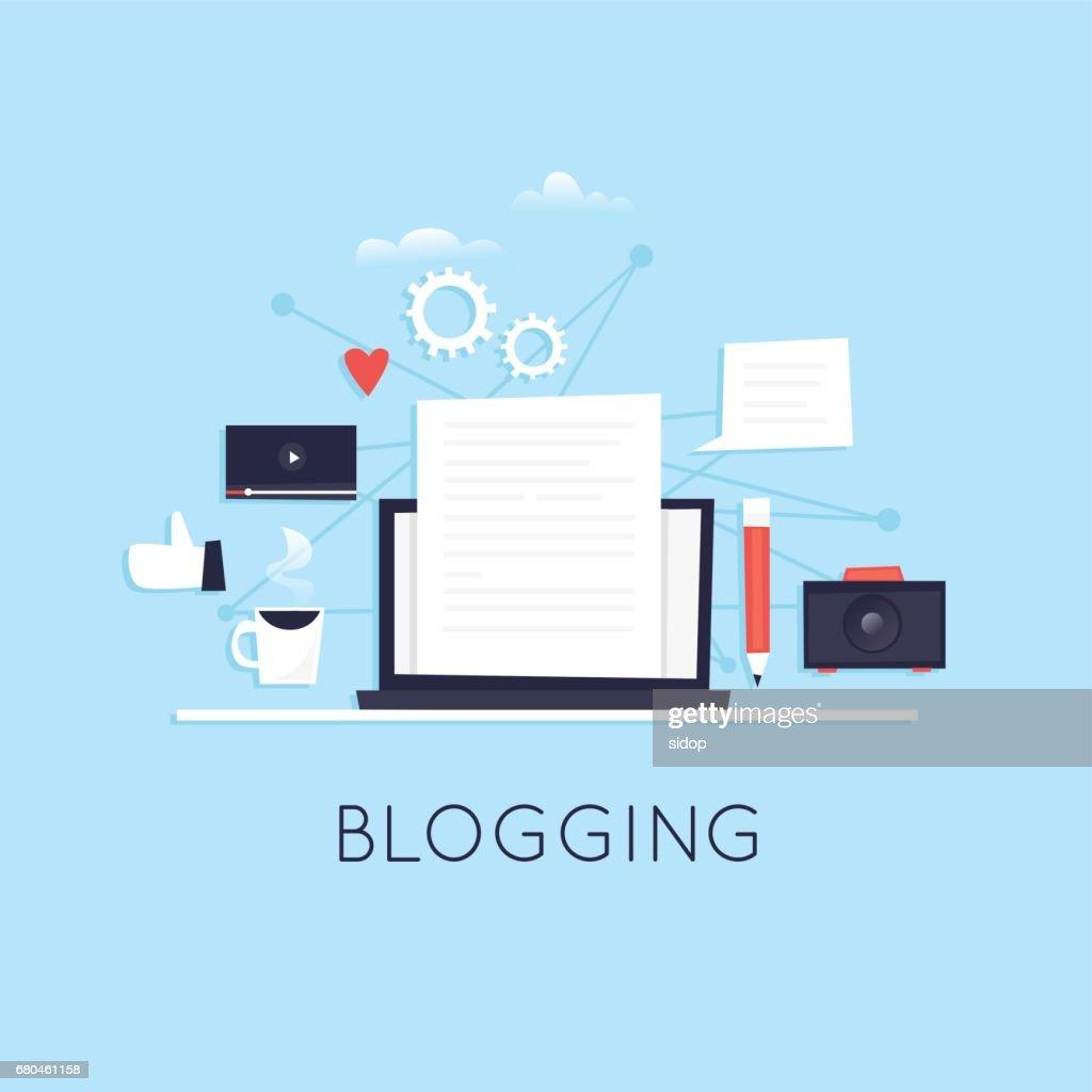 Blogging. Flat vector illustration in cartoon style.