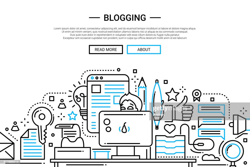 Blogging - line design website banner