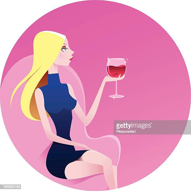 Blond beautiful woman with red wine