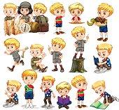 Blond boy doing different activities
