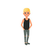 Blond boy in shirt and ripped jeans. Cartoon kid character with happy face expression posing with hands in pockets. Trendy teenage fashion outfit. Flat vector design
