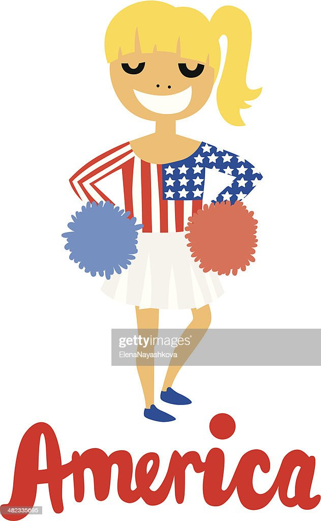 Blond Cheerleader Girl with America Text