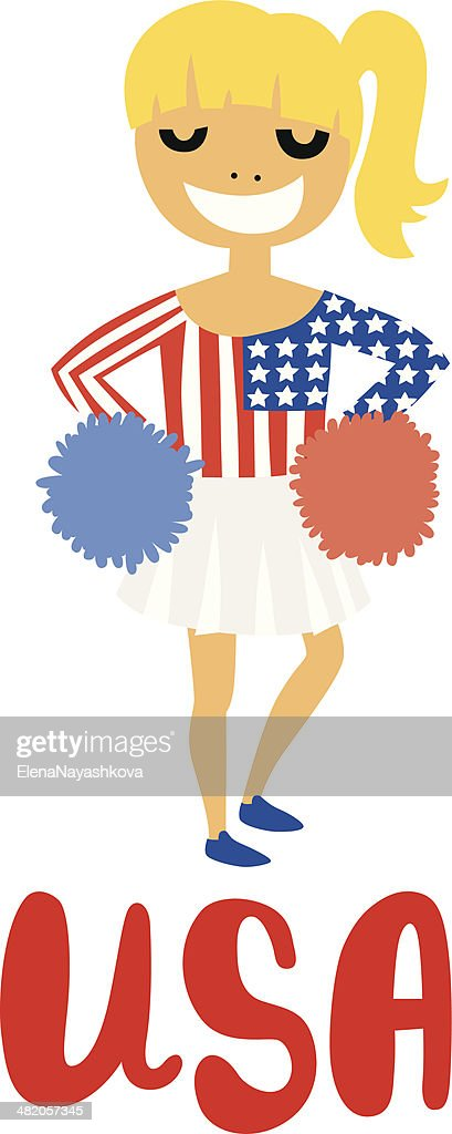 Blond Cheerleader Girl with USA