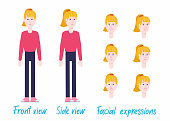 Blond female character set ready for animation: separated arms/legs/body, 2 poses, facial expressions.