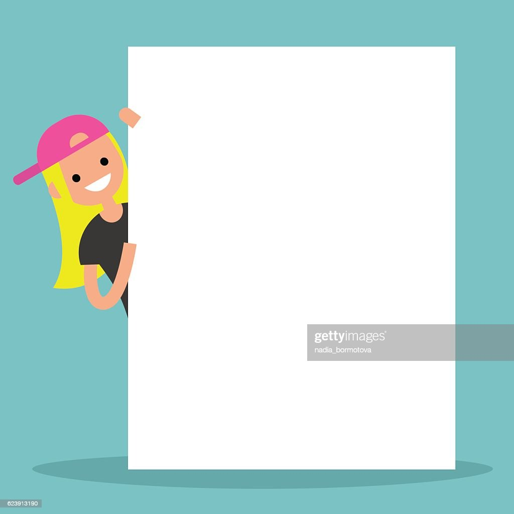 Blond girl peeping from behind a blank board mock up