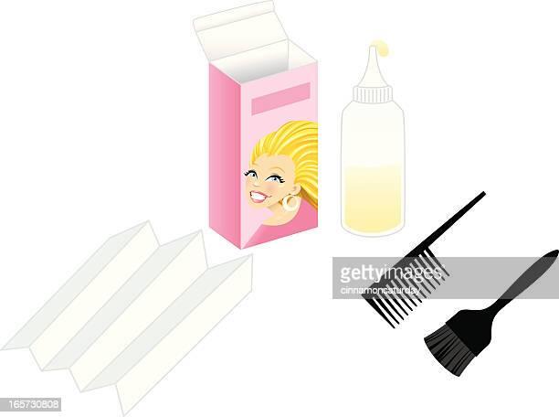 blond hair dye kit - hair color stock illustrations, clip art, cartoons, & icons