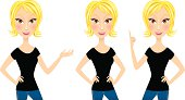 Blond woman in three poses
