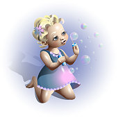 Blonde girl blowing soap bubbles