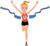 Blonde Girl Runner Athlete Winner Winning First Place