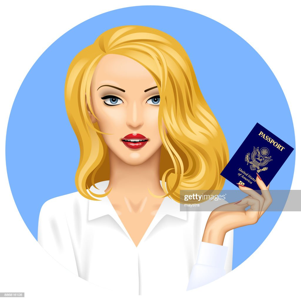 Blonde girl with an American Passport in hand