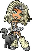 Blonde Goth Girl with Dreadlocks and Cat