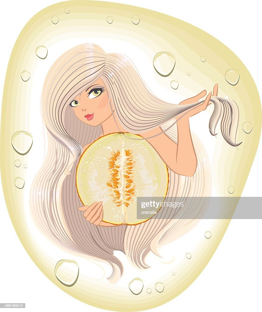 Blonde with long hair holding a cut melon