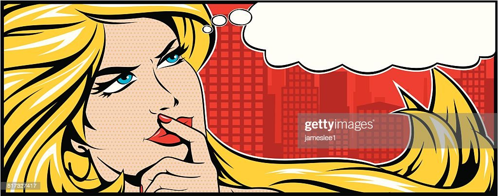 Blonde Woman Thinking : stock illustration