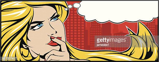 blonde woman thinking - contemplation stock illustrations