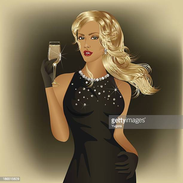 blonde woman - cocktail dress stock illustrations
