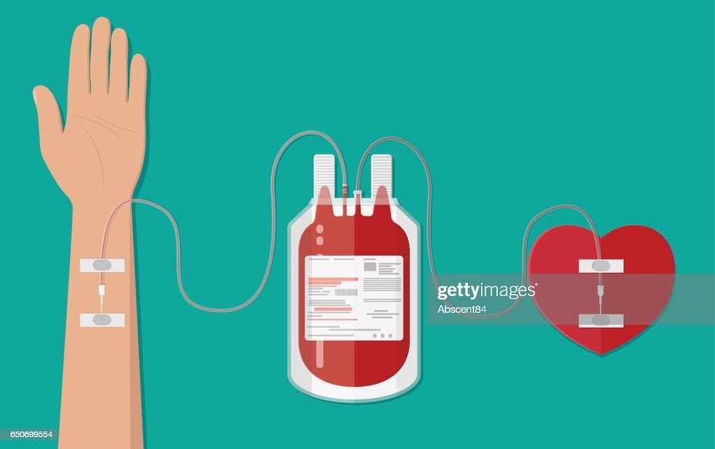 Blood bag and hand of donor with heart