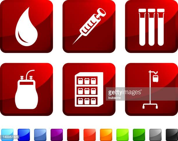blood bank royalty free vector icon set stickers - blood bank stock illustrations