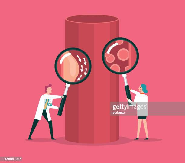 blood cells and blood vessel stock illustration - artery stock illustrations