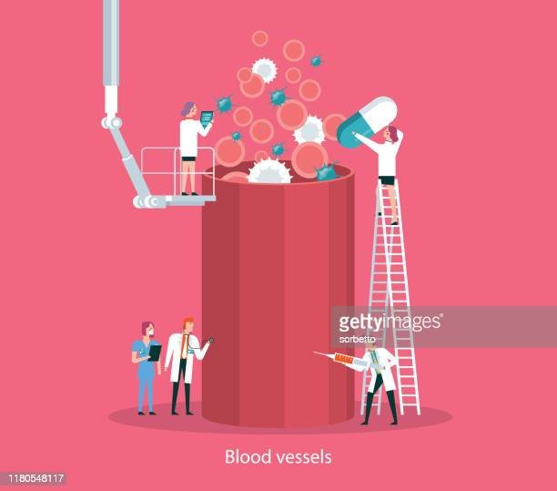 blood cells and blood vessel - sclerosis stock illustrations