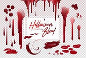 Blood collection, Happy Halloween decoration, Vector bloody horror drop, drip, splatter, creepy splash, spot...