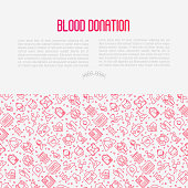 Blood donation concept with thin line icons and place for text. World blood donor day. Vector illustration for web page, banner, print media.