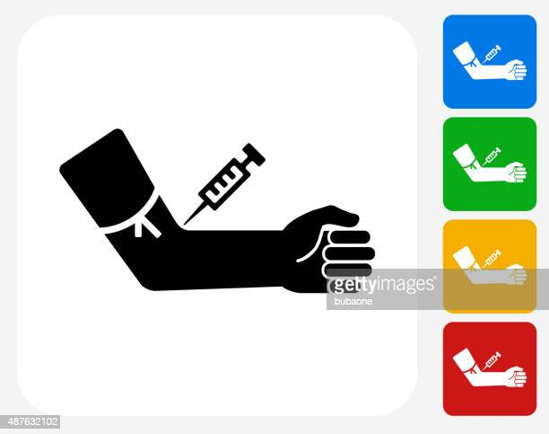 blood donation icon flat graphic design - injecting stock illustrations